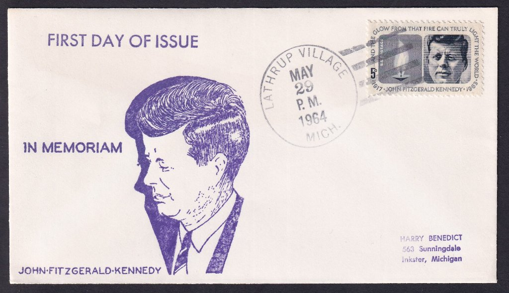 Including JFK unknown cachet (Mellone #184) - Lathrup Village Michigan May 29, 1964