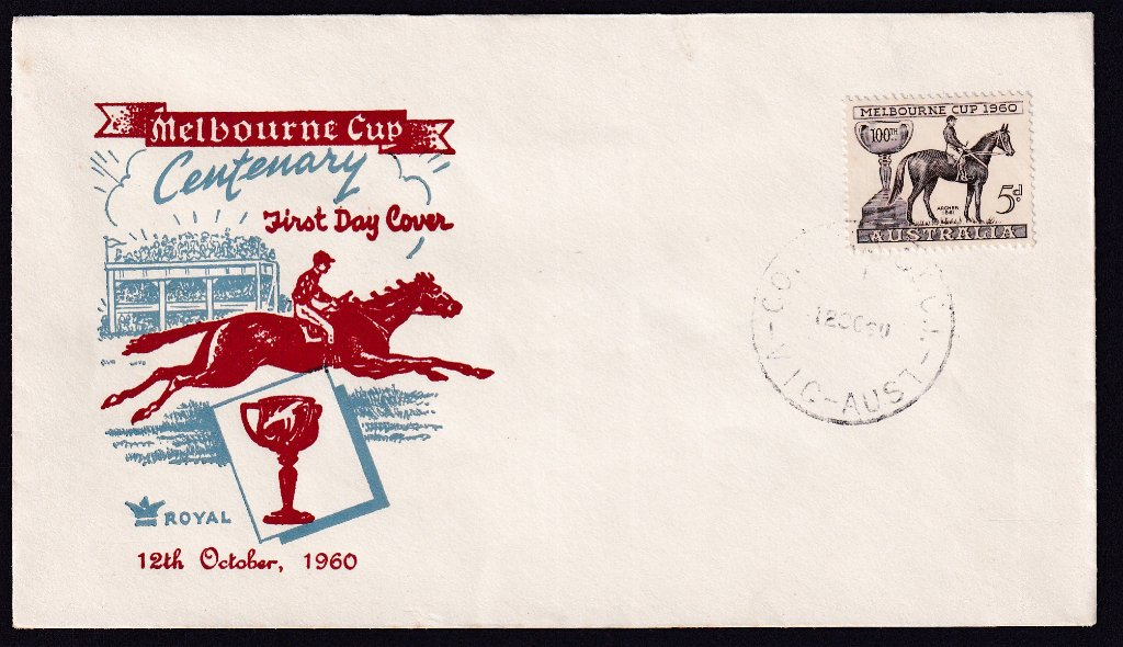 Royal Cachet fdc for the 1960 5d Melbourne stamp postmarked with a very faint Collins St (Melbourne) cds on 12th October 1960