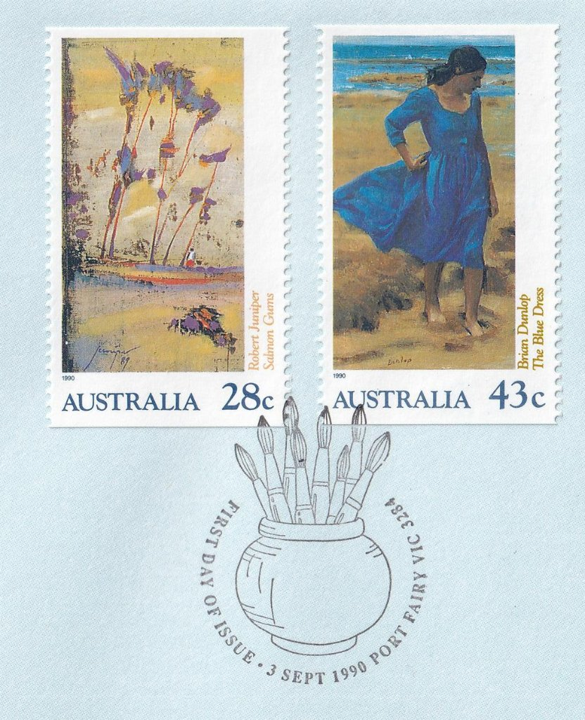 Port Fairy fdi pictorial postmark shows paint brushes in a holder (APM #22520)