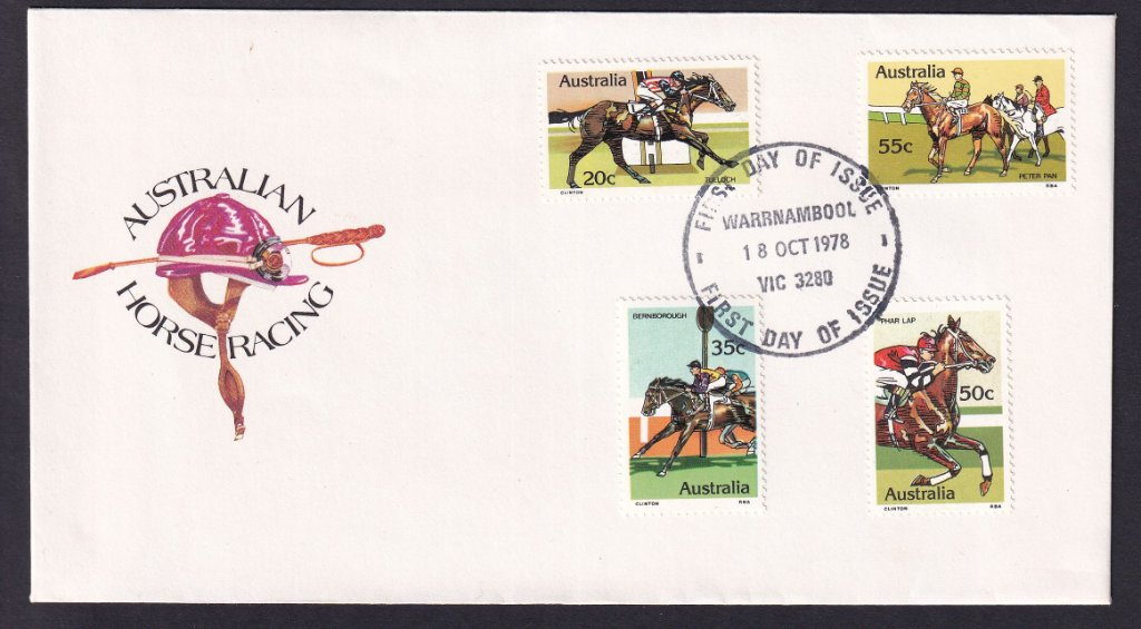 1978 Australian Racehorses Tulloch 20c, Bernborough 35c, Phar Lap 50c & Peter Pan 55c stamps fdc postmarked Warrnambool fdi cancel - 18th October 1978