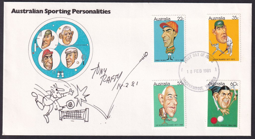 1981 Australian Sporting Personalities, including jockey Darby Munro 22c, stamps fdc postmarked with redesigned Warrnambool fdi cancel & signed by designer Tony Rafty with tennis cartoon.