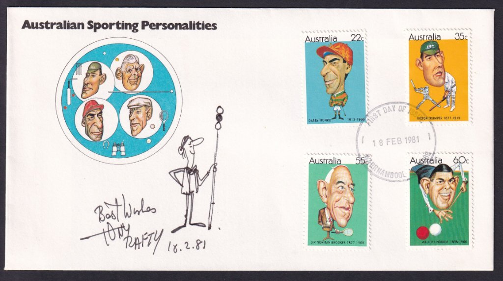 1981 Australian Sporting Personalities, including jockey Darby Munro 22c, stamps fdc postmarked with redesigned Warrnambool fdi cancel & signed by designer Tony Rafty with billiards cartoon.