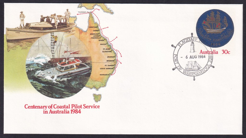Centennial of the Coastal Pilot Service 30cpse postmarked with Flagstaff Hill Lighthouse - Port of Warrnambool pictorial postmark 6th August 1984