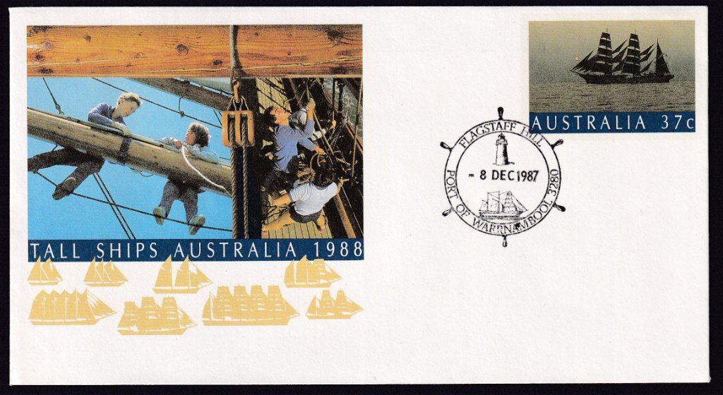 Tall Ships 37c pse postmarked with Flagstaff Hill Lighthouse - Port of Warrnambool pictorial postmark 8th December 1987