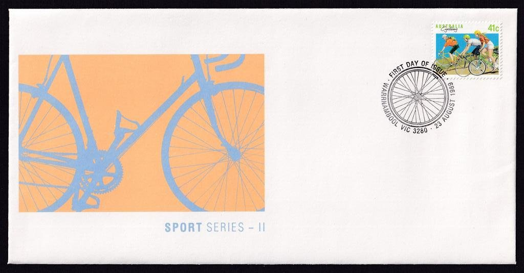 Australia Sports Series II Cycling 41c stamp postmarked with Warrnambool pictorial cycling pictorial postmark 23rd August 1989