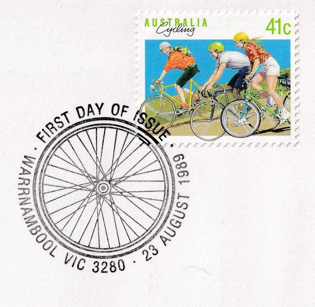 Warrnambool Cycling pictorial postmark 23rd August 1989 (APM #21510)