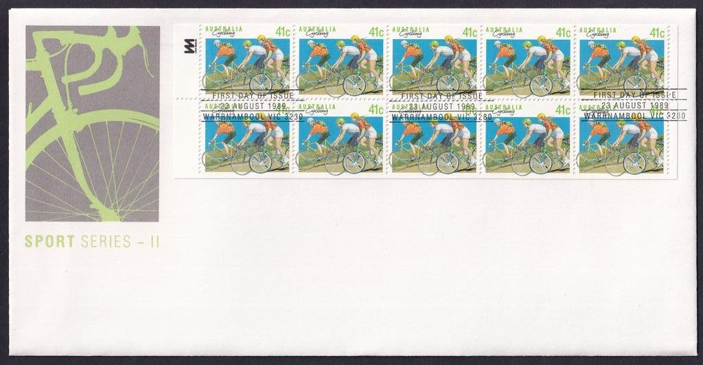 Australia Sports Series II Cycling 41c booklet pane postmarked with Warrnambool printed postmark 23rd August 1989