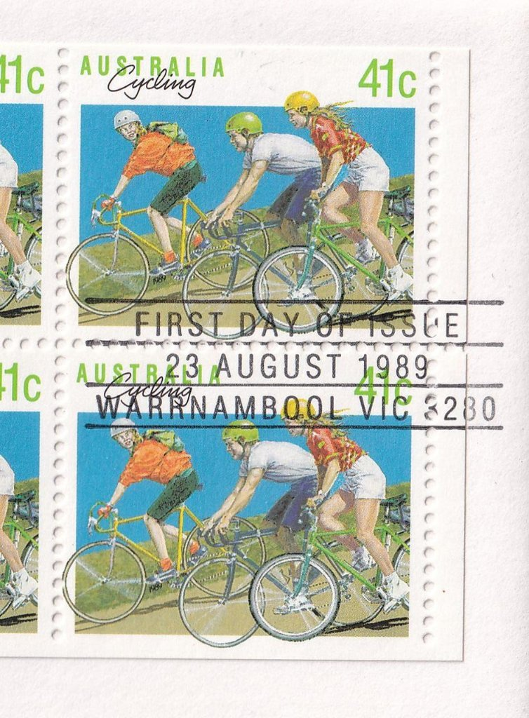 Warrnambool Cycling printed postmark 23rd August 1989 (APM #21511)