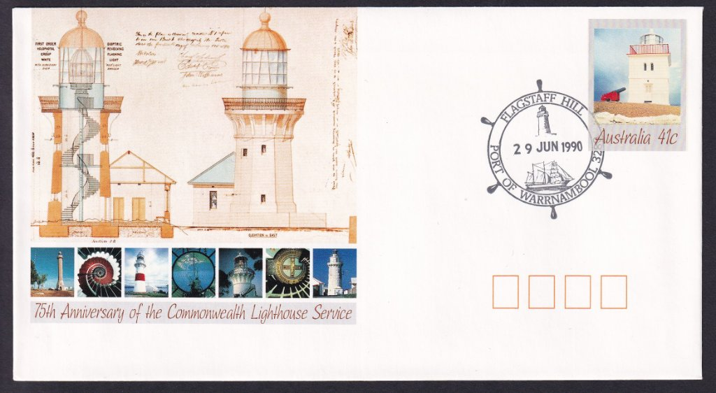 75th Anniversary of the Commonwealth Lighthouse Service 41c pse postmarked with Flagstaff Hill, Port of Warrnambool pictorial postmark (APM #8740) on 29th November 1990