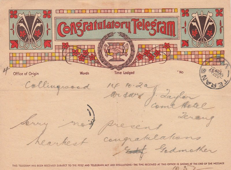 Congratulatory Telegram received at Terang. 1937.