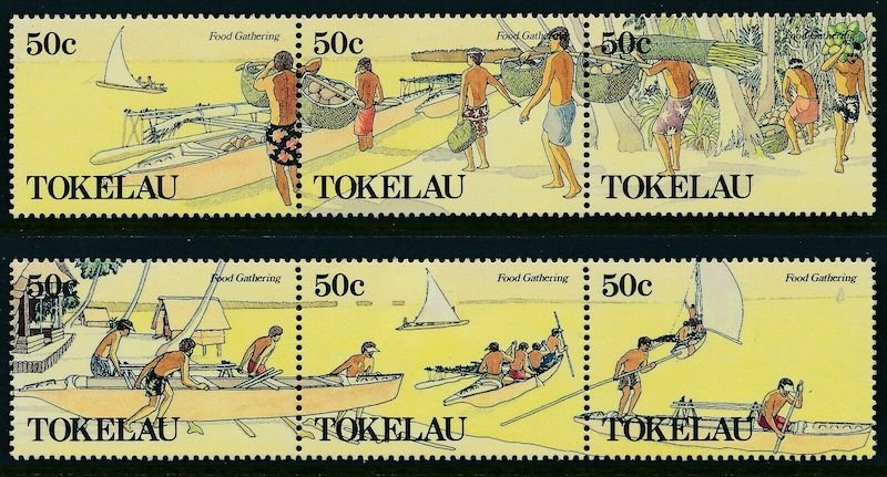 .<br />Tokelau, 1989, Food gathering, set of 6 definitives
