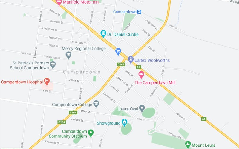 Street map of Camperdown VIC.
