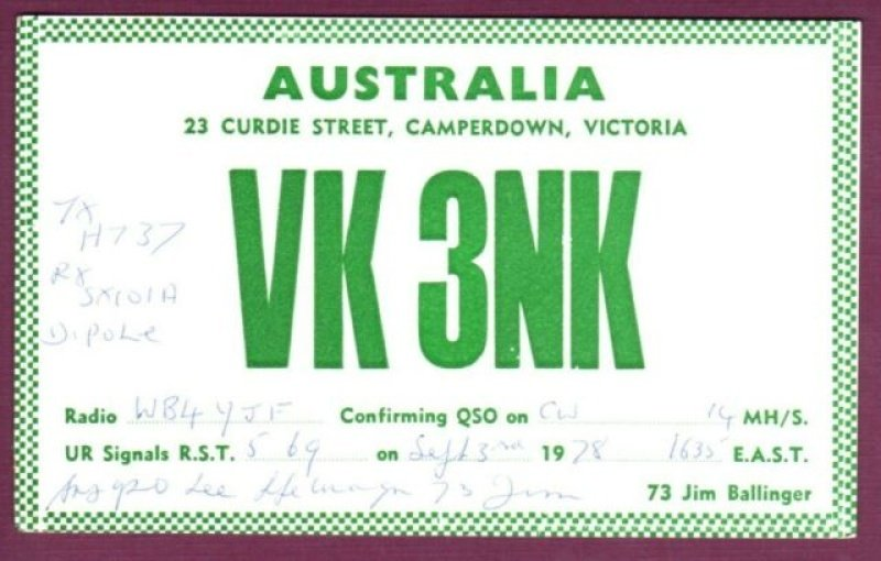 Ham Radio Postcard from Camperdown VIC.