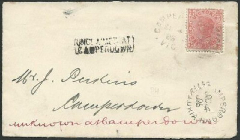 Unclaimed at Camperdown  cover. 1905.