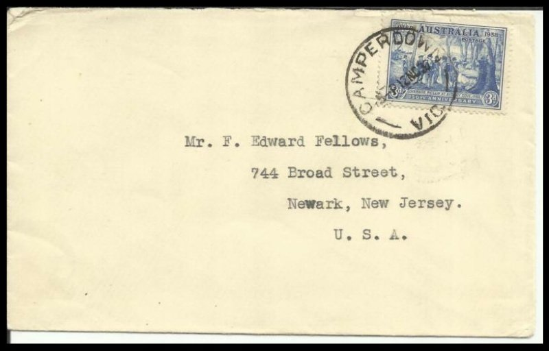 Cover posted from Camperdown Vic to USA. 1937.