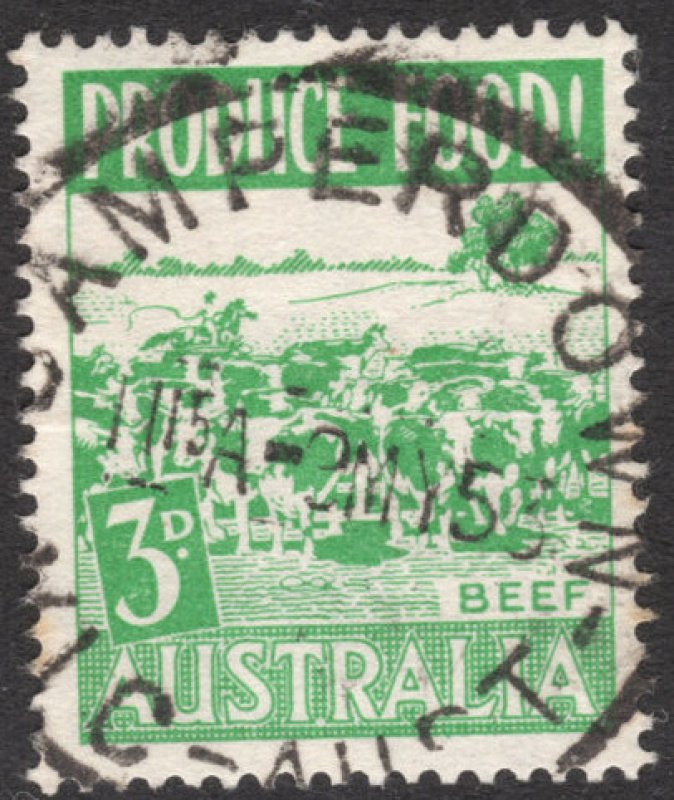 Camperdown Vic postmark on 3d green beef stamp.