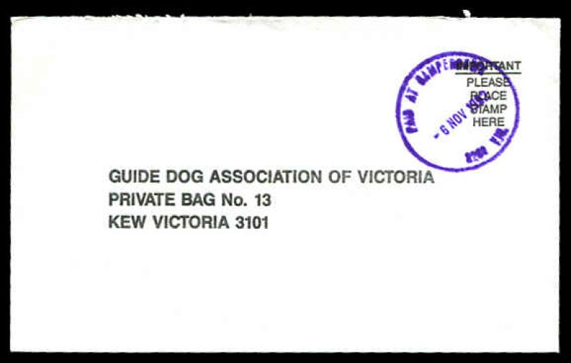 Paid at Camperdown Vic cover. 1992.
