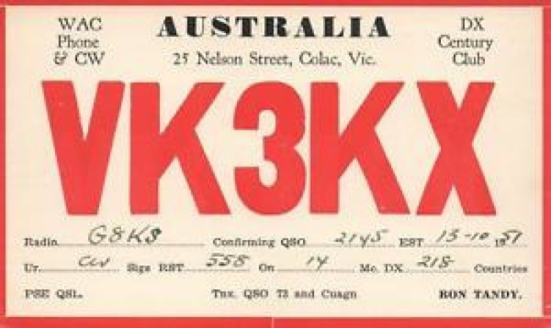 Ham Radio Postcard from Colac Victoria.