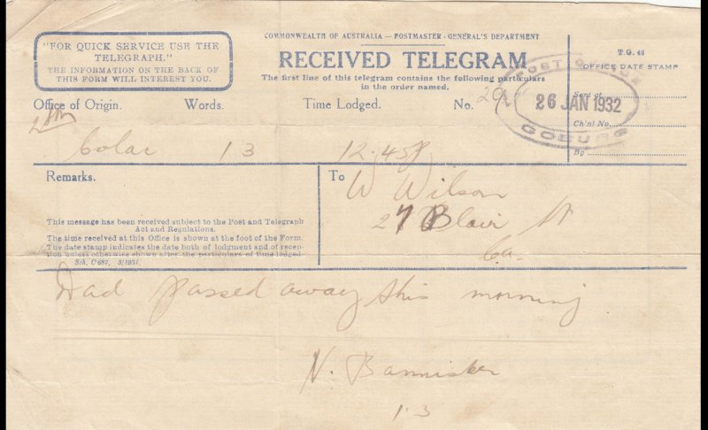 Telegram received at Colac. 1932.