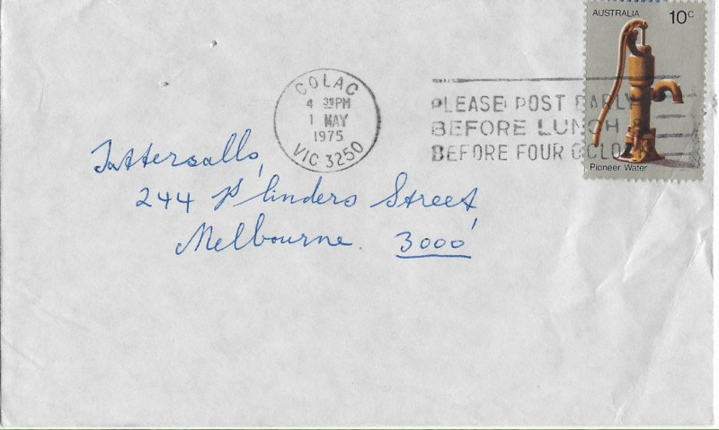 Colac machine cancel on 1975 commercial cover.