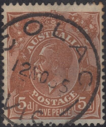 Colac Vic Postmark on 5d brown KGV.