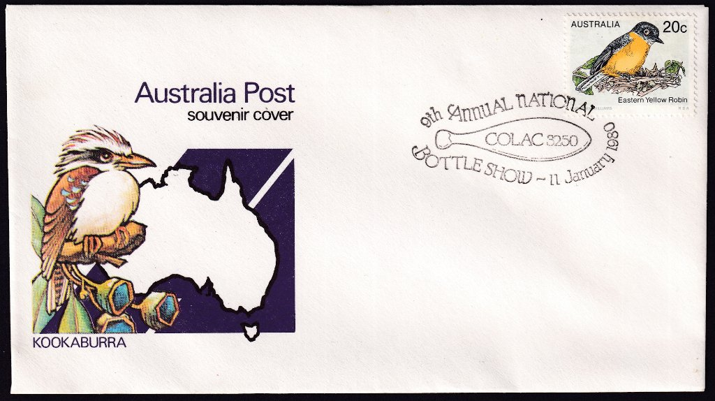 9th Annual National Bottle Show, Colac 11th January 1980 on Australia Post souvenir cover.
