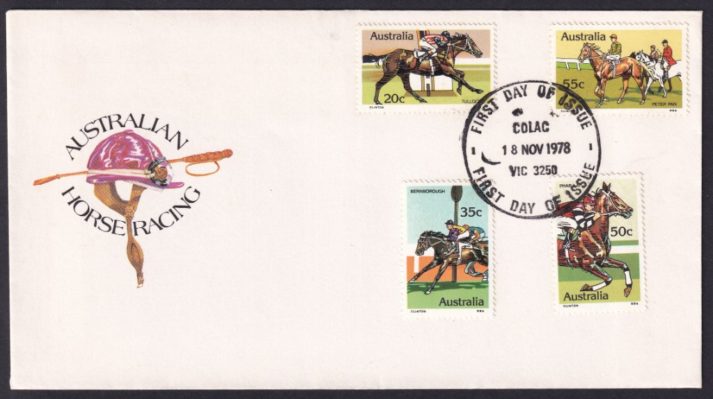 1978 Australian Racehorses Tulloch 20c, Bernborough 35c, Phar Lap 50c & Peter Pan 55c stamps fdc postmarked Colac fdi cancel - 18th October 1978
