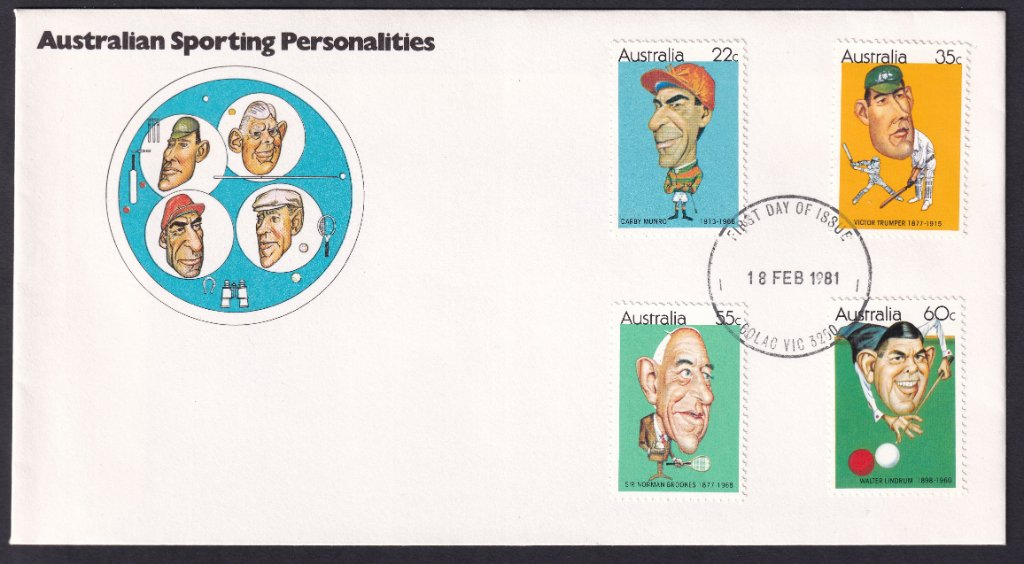 1981 Australian Sporting Personalities, including jockey Darby Munro 22c, stamps fdc postmarked with redesigned Colac fdi cancel -18th February 1981.
