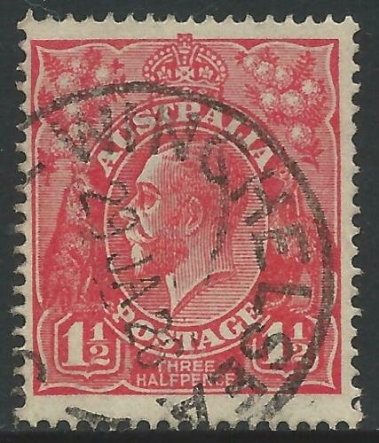 Winchelsea Vic postmark on three halfpence KGV stamp.