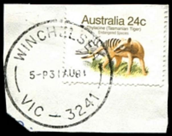 1981 Thylacine 24c stamp postmarked with Winchelsea cds 31st August 1981