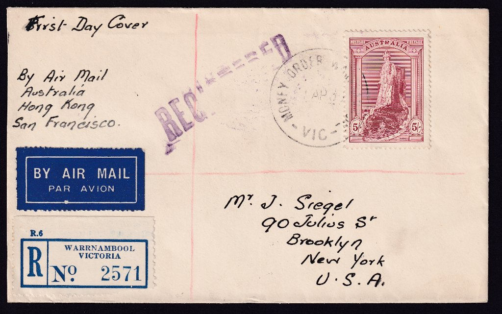 Registered Aust fdc 1938 5/- Robes postmarked Money Order Office - Warrnambool 1st April 1938 to New York USA