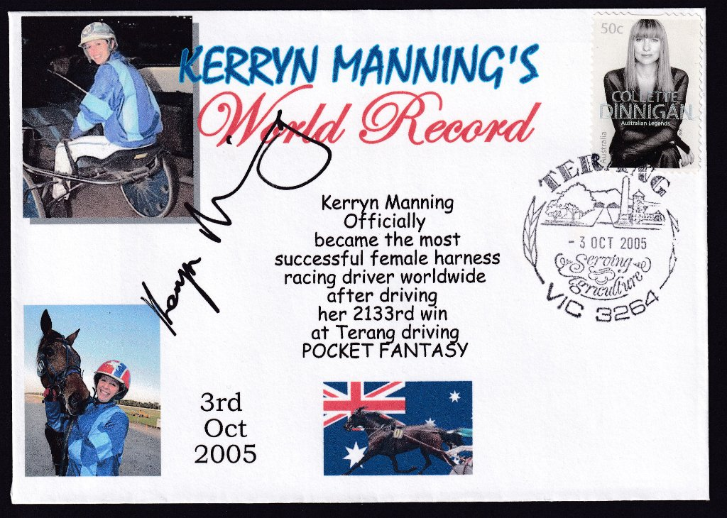 Unbranded Alpha Souvenir cover by Havilah Enterprises for World Record winning drive by Kerryn Manning after driving her 2,133rd win at Terang on 3rd October 2005.<br />Cover is also signed by Kerryn Manning.