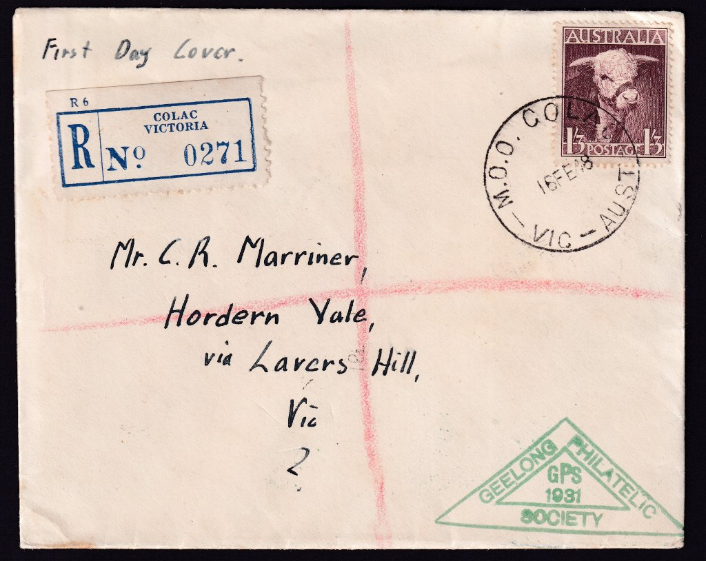 Registered Geelong Philatelic Society fdc for 1948 1/3d Bull stamp postmarked Money Order Office Colac
