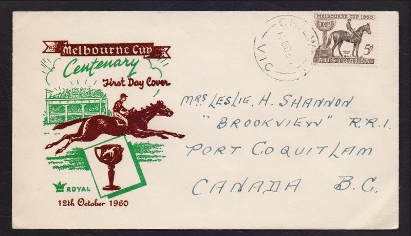 1960 Melbourne Cup 5d stamp postmarked Chilwell cds 12th October 1960.