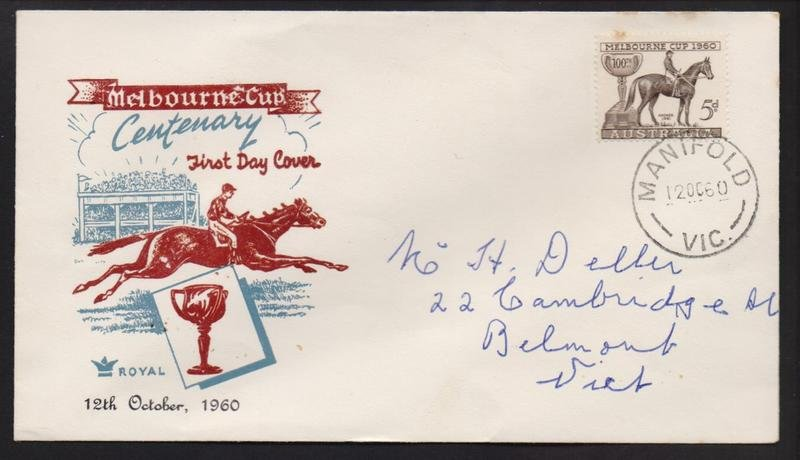 1960 Melbourne Cup 5d stamp postmarked Manifold cds 12th October 1960.
