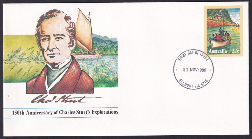 150th Anniversary of Charles Sturt's Explorations 22c pse postmarked Belmont fdi 12th November 1980 (redesigned fdi)