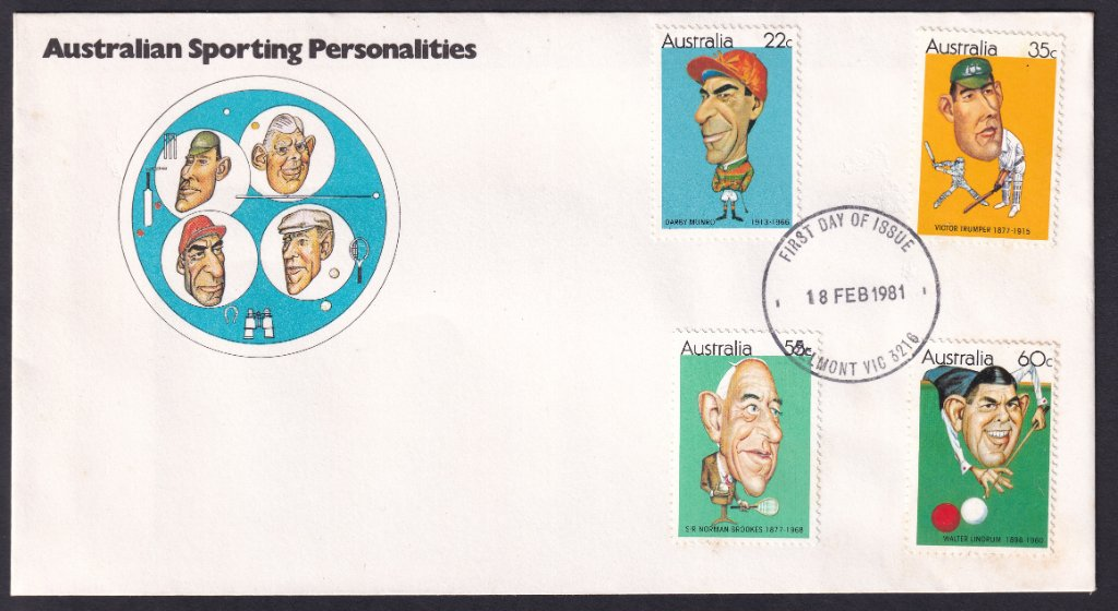 Australian Sporting Personalities fdc, including 22c Darby Munro stamp postmarked Belmont fdi 18th February 1981.