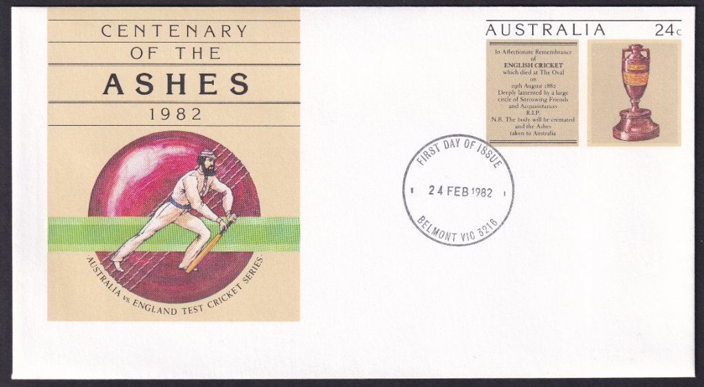 Centenary of the Ashes 24c pse postmarked Belmont fdi 24th February 1982.