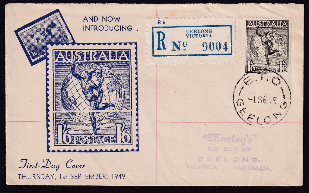 Registered Miller Bros, of Carlton fdc for new Hermes design 1/6d stamp postmarked E.T.O. Geelong cds 1st September 1949 to Marley's Geelong