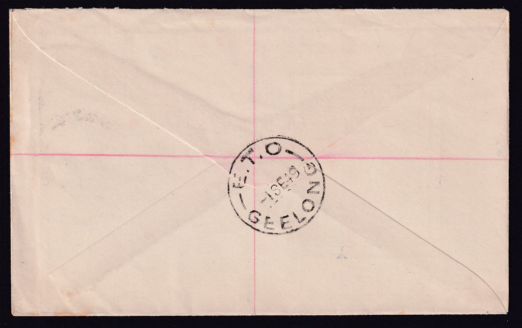 Reverse postmarked E.T.O. (Electronic Telegraph Office) Geelong - 1st September 1949