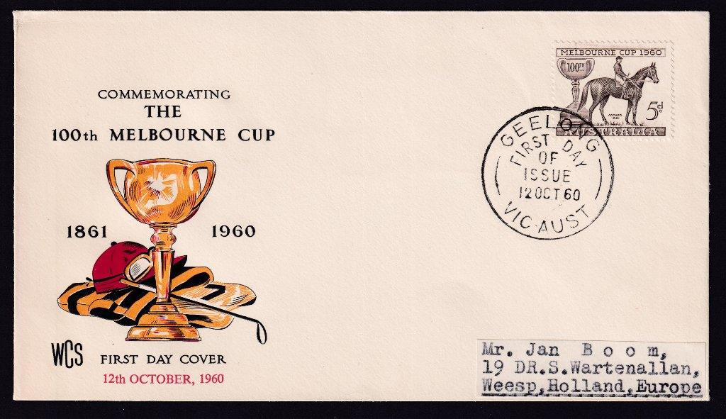 Wesley fdc for 1960 Melbourne Cup stamp cancelled Geelong fdi 12th October 1960 to Holland (Netherlands)