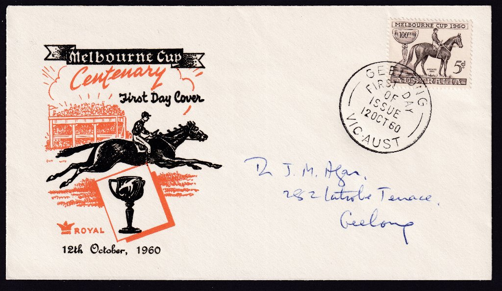 Royal fdc for 1960 Melbourne Cup stamp cancelled Geelong fdi 12th October 1960 to Geelong