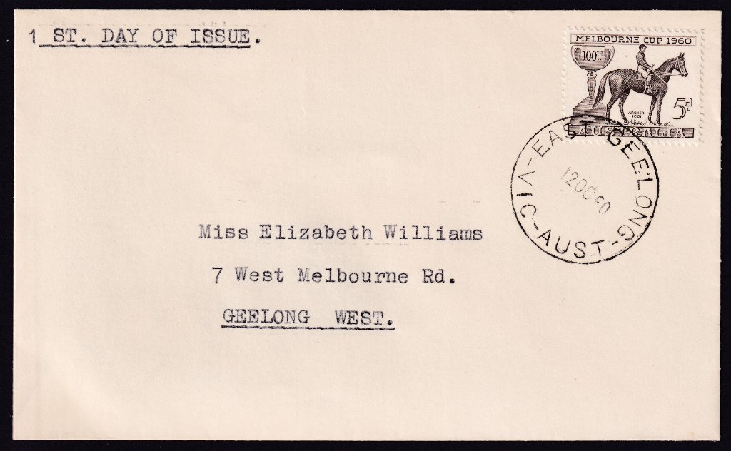 Uncacheted fdc for 1960 Melbourne Cup stamp cancelled East Geelong cds 12th October 1960 to Geelong West