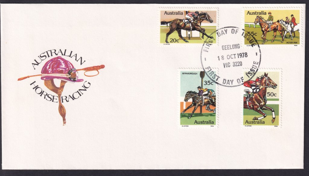1978 Australian Racehorses Tulloch 20c, Bernborough 35c, Phar Lap 50c & Peter Pan 55c stamps fdc postmarked redesigned Geelong fdi cancel - 18th October 1978