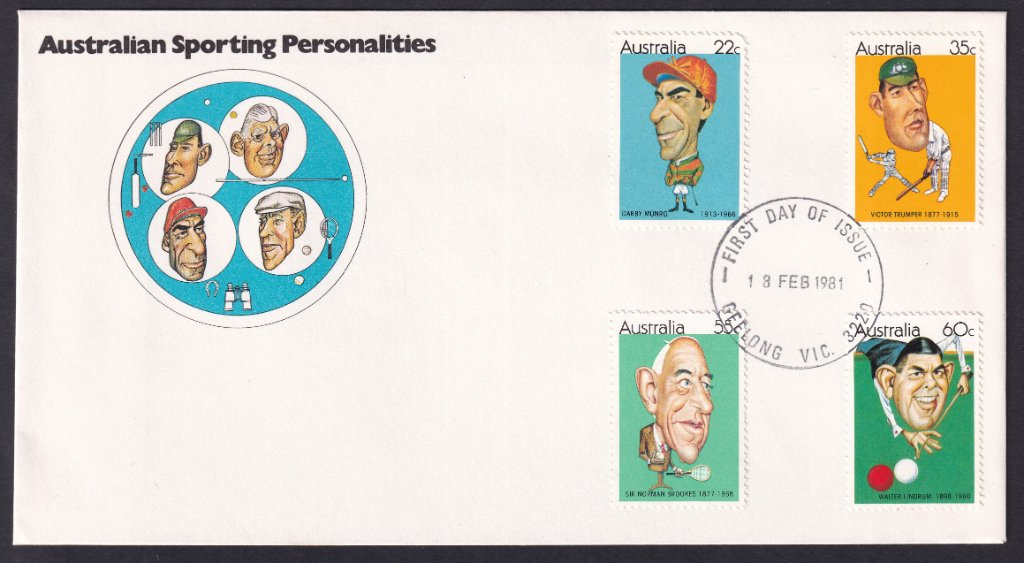 Australian Sporting Personalities fdc, including 22c Darby Munro stamp postmarked Geelong fdi 18th February 1981.