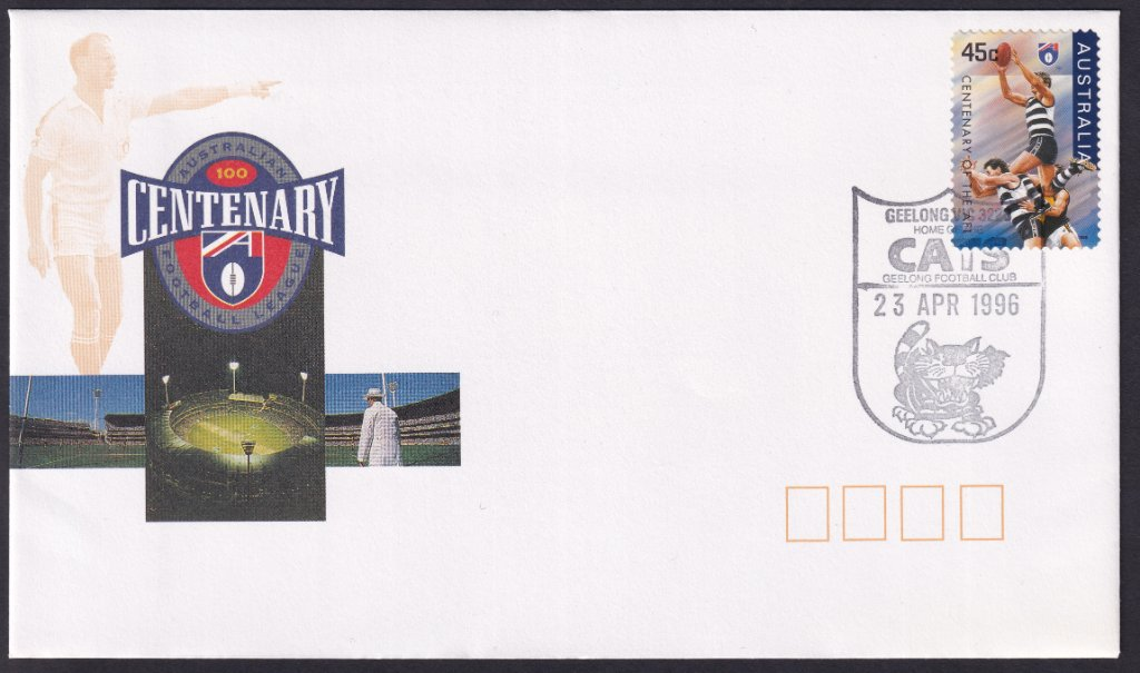 Centenary of the VFL fdc cancelled on fdi with Geelong Cats pictorial postmark on it's fdu 23rd April 1996