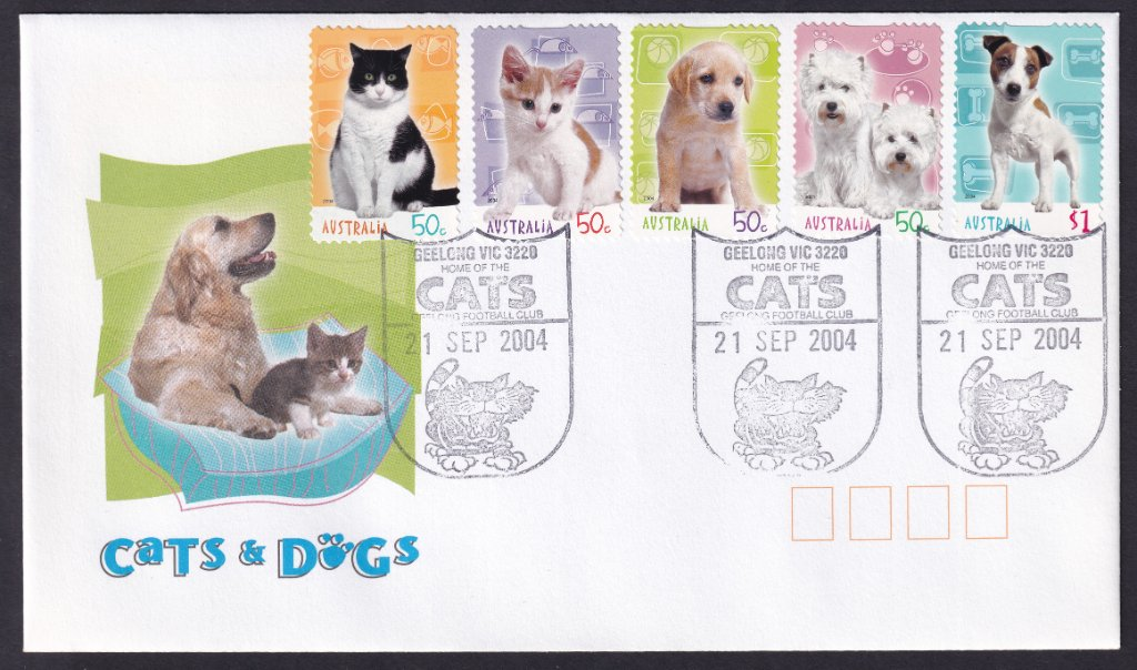 Cats & Dogs fdc cancelled on fdi with Geelong Cats pictorial postmark on fdi 21st September 2004
