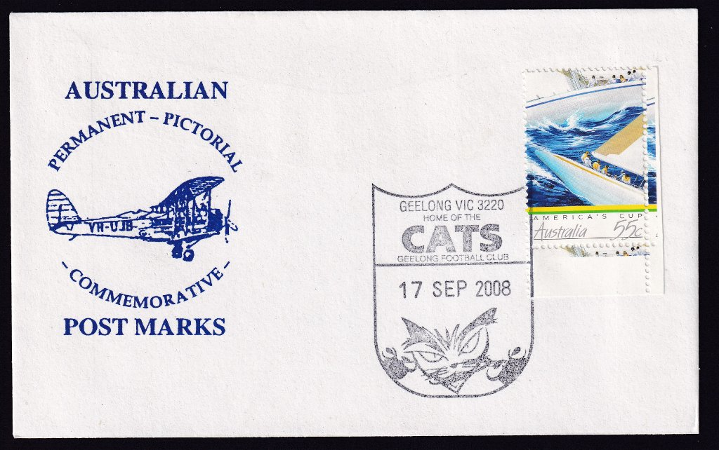 Souvenir cover with redesigned Geelong Cats pictorial postmark on it's fdu 17th October 2008. It was thought the cat needed to look more ferocious.