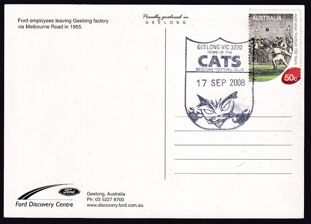 Postcard with redesigned Geelong Cats pictorial postmark on it's fdu 17th October 2008.