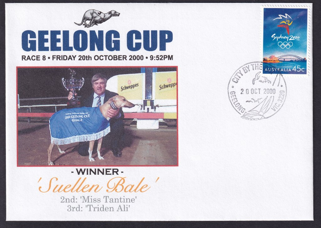 Unbranded Alpha Souvenir cover for the 2000 Geelong Greyhounds Cup postmarked with the Geelong City by the Bay pictorial postmark on 20th October 2000.